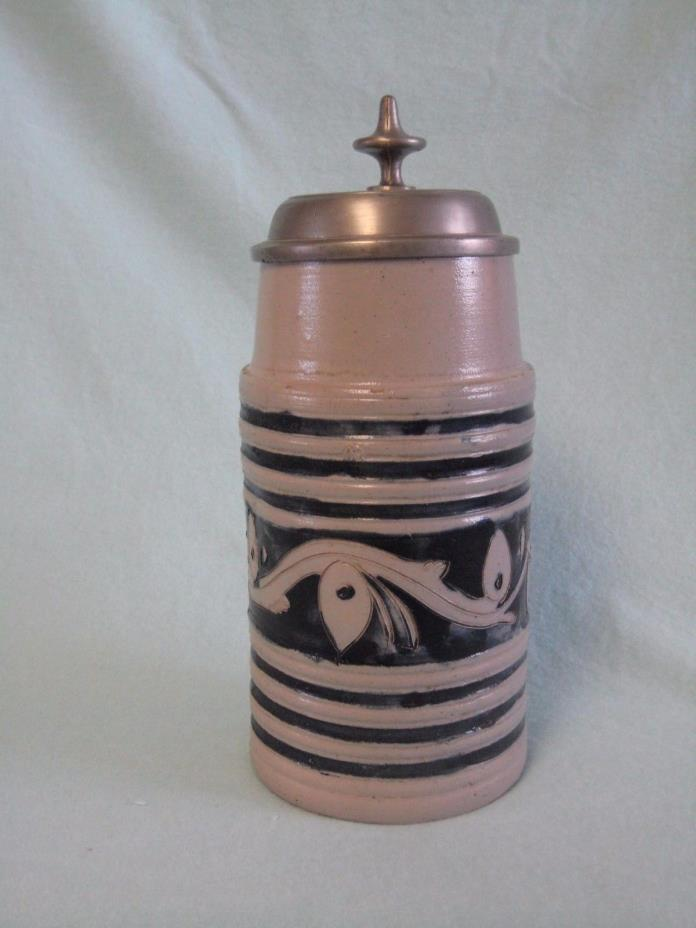 Antique Westerwald Stoneware Beer Stein - circa 1840 - Incised w/ Cobalt Decor