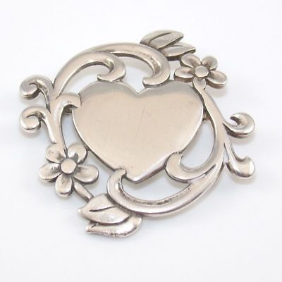 James Avery Retired Sterling Silver Flowers & Heart Pin Brooch