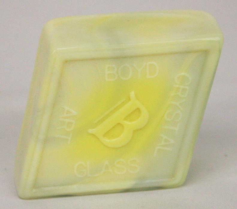 Boyd Crystal Art Glass Diamond Logo Paperweight ~ Yellow Slag