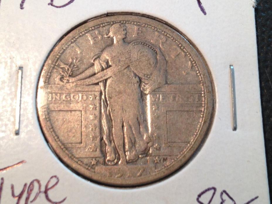 1917-D Type 1  Fine  Standing Liberty Quarter   Nice Coin