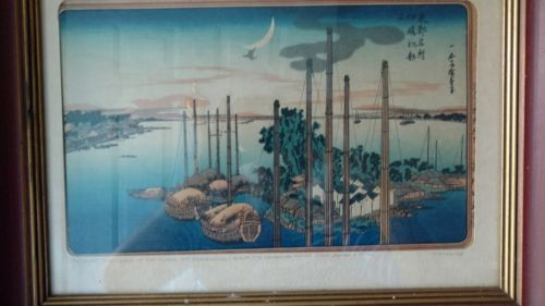 Japanese Woodblock Print w/Bird Flying by The Crescent Moon in the Harbor-Meiji