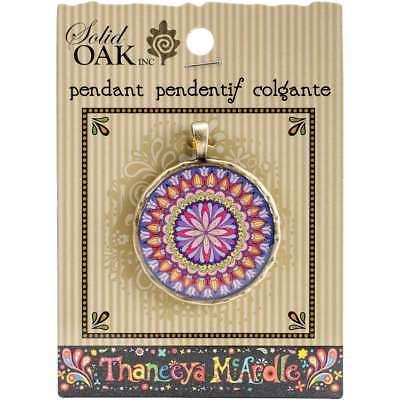 Thaneeya(R) LLC Acrylic Round Pendant 1/Pkg Pink & Blue Flower Ma 845227044990