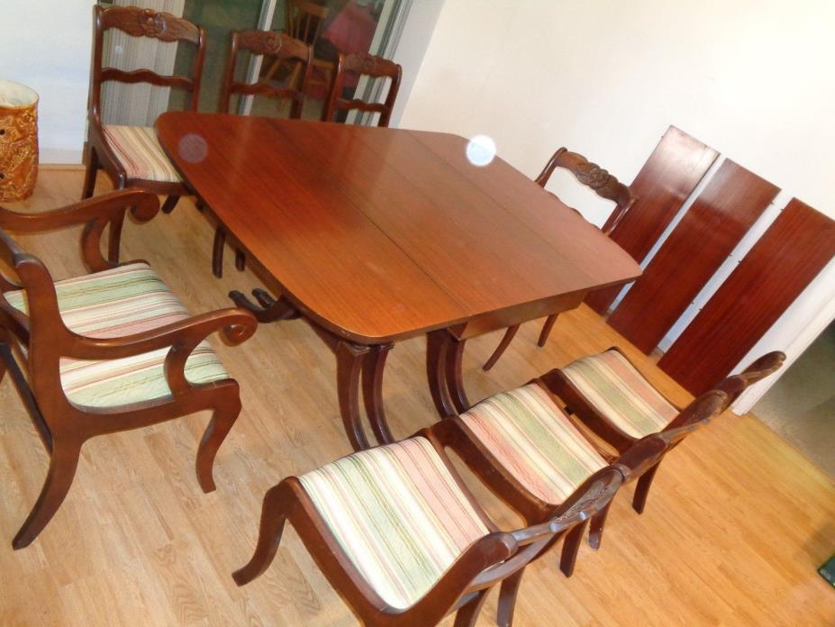Vintage Tell City Mahogany Dining Room Table & 8 Chairs & 3 Extra Leafs
