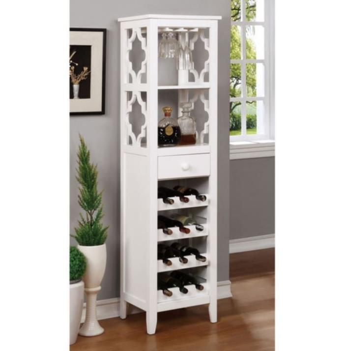Contemporary Wine Rack White Shelving Unit Wine Glass Holder Bar Cabinet