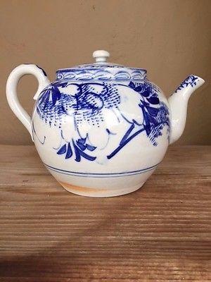Antique Globular Chinese blue & white Chinese Teapot