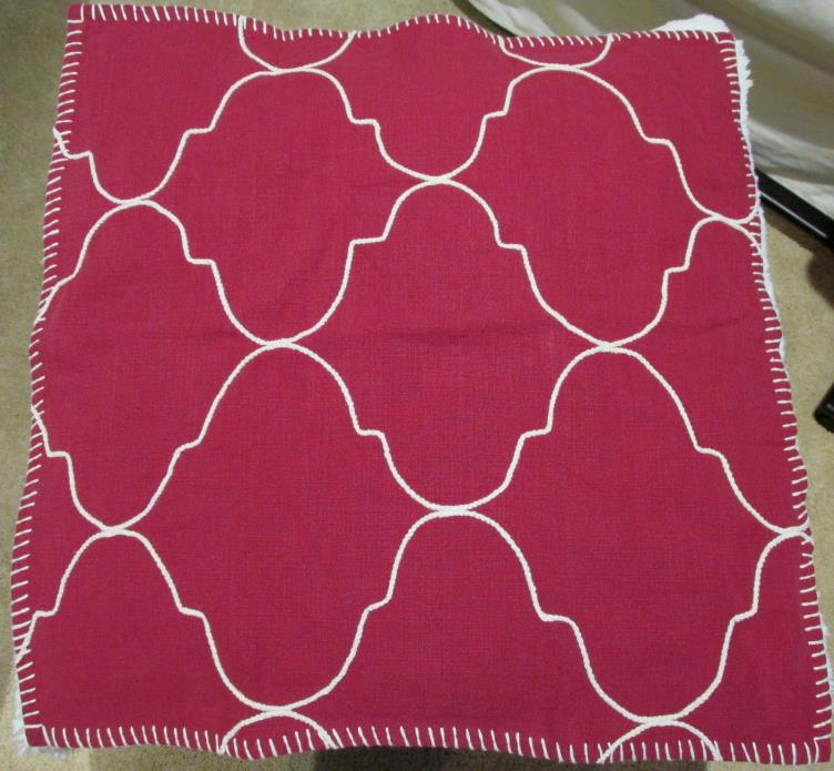 Pottery BARN TILE EMBROIDERED Pillow Cover 22 x 22 Red NWT ~Moroccan~Holiday