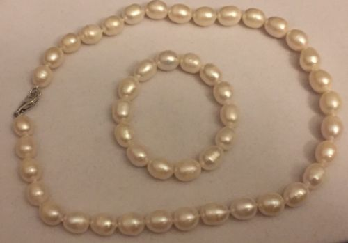 "Genuine Freshwater White Nugget Pearl Bracelet (7"") & Necklace (18"")"