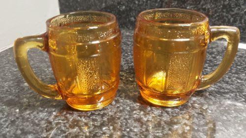 Vintage Set of 2 Miniature Amber Glass Barrel Mugs Shot Glasses Toothpick Holder