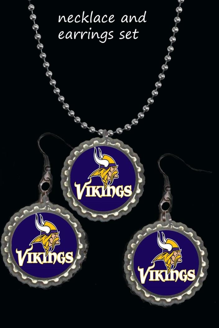 Minnesota Vikings earring Earrings and necklace set great gift