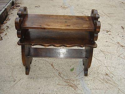 Antique Quarter-Sawn Oak Book Magazine End Table w/ relief carving 9468
