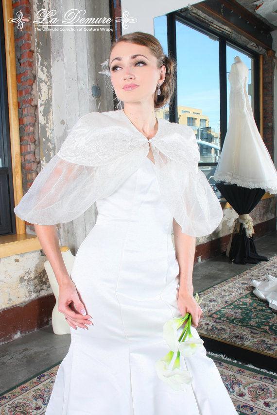 NEW La Demure Organza Lace Bolero Wedding Jacket Wrap - White/Ivory/Off-White