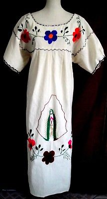 VTG Mexican Ivory Dress VIRGEN GUADALUPE HAND Embroidered Caftan Wedding One Sz