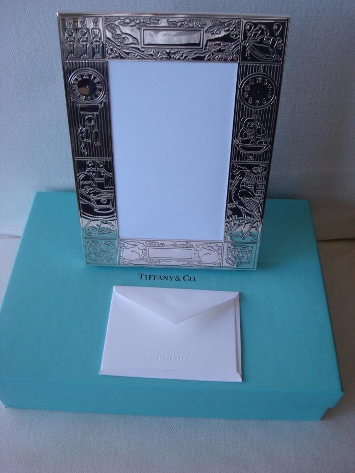 TIFFANY sterling silver ~ NEW IN BOX~ BABY PICTURE FRAME 'BIRTH' ~box,pouch,bag
