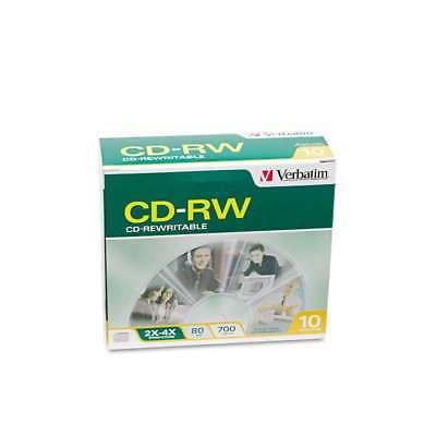 Verbatim CD-RW Discs, 700MB/80min, 2X/4X, Slim Jewel Case, Matte 023942951704