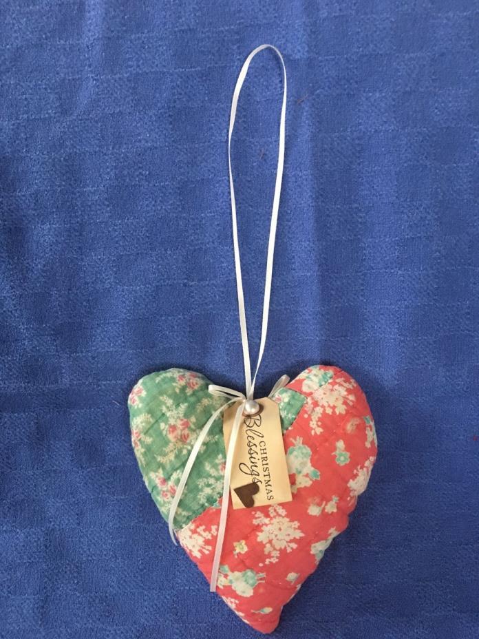 Sweet Vintage Quilt OOAK Heart Pillow Door/Peg Hanger,Valentine/Spring/Red,Green