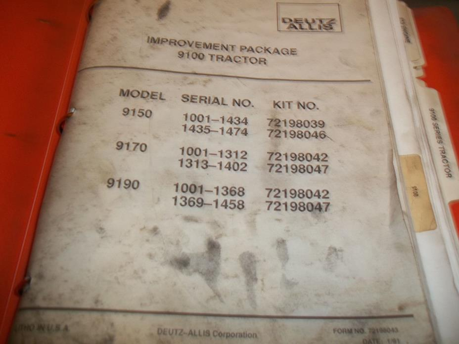 Deutz Allis Manual for 9100 series; Flat rate manual, Service manual etc.
