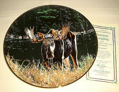 RON PARKER Natures Moments Big Moose Deer Family & Antlers AUTUMN FORAGING Plate