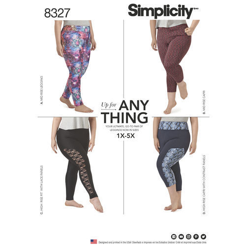 New Simplicity Sewing Pattern 8327 Plus Size Stretch Knit Leggings Sizes 1X-5X