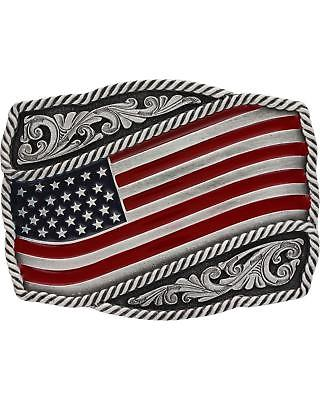Montana Silversmiths Men's Classic Painted Waving Flag Buckle  Silver