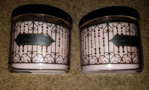 bath body works champagne toast candles set 2 discontinued scent NEW pink wax