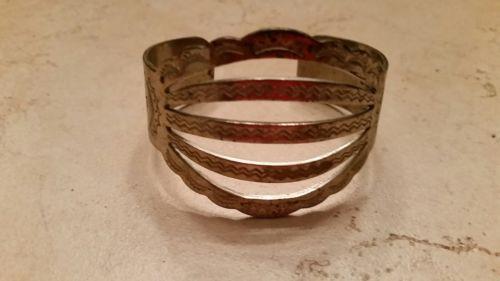 Native American Sterling Silver Cuff Bracelet Navajo Rattlesnake Thunderbird Sun