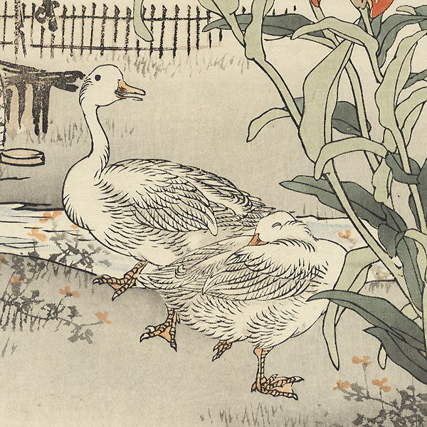 Original Kono Barei Japanese Woodblock Print Geese and Lilies