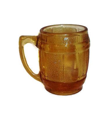 Amber toothpick holder shot glass handle barrel 2 1/2