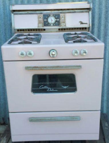 PINK !!! Old Antique Vintage Gas Cook Stove Range Oven Burners