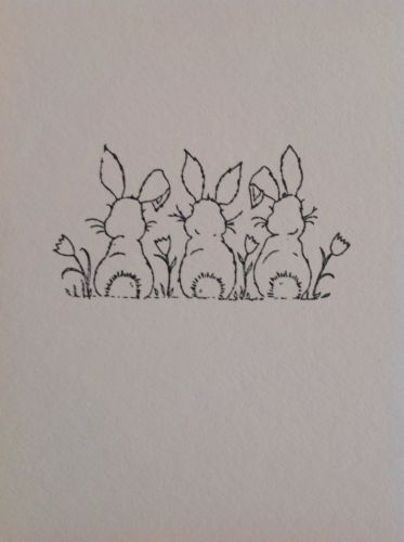 Easter BUNNIES (5 sheets; 23 Images) on White Cardstock