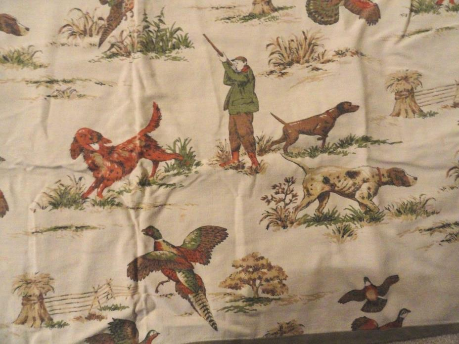 Vintage Rustic Hunter Cabin Camp Style Camping Pheasant Bird Pointer Dog Fabric