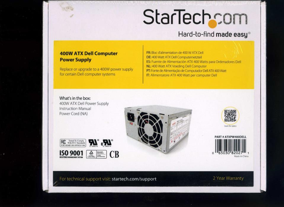 StarTech 400W ATX Dell Computer Power Supply Part# ATXPW400DELL New Sealed