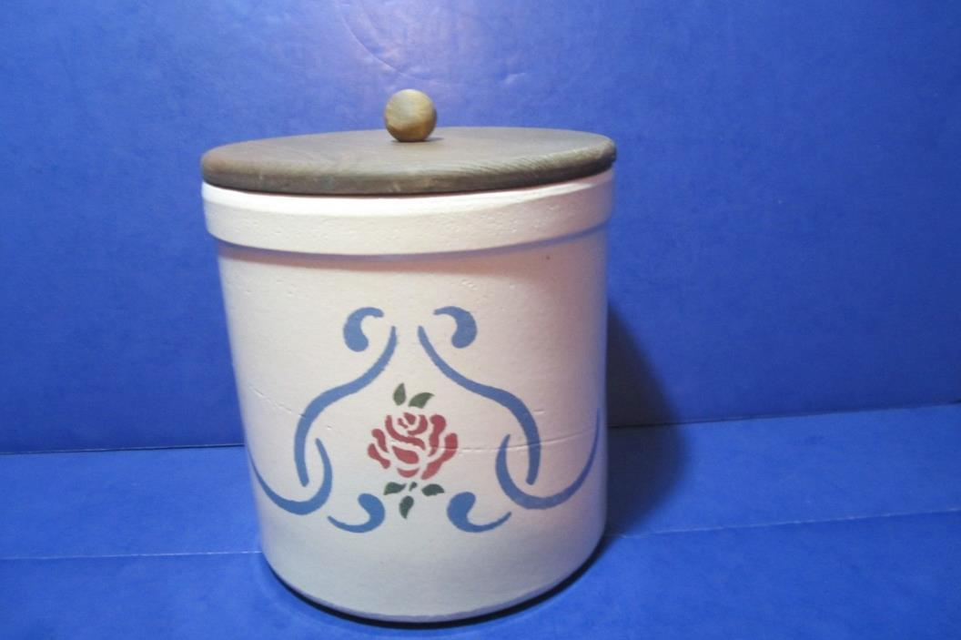 Blue Crown RRP 1 Gal. Crock Roseville Flowers Folk Art Stoneware USA Antique