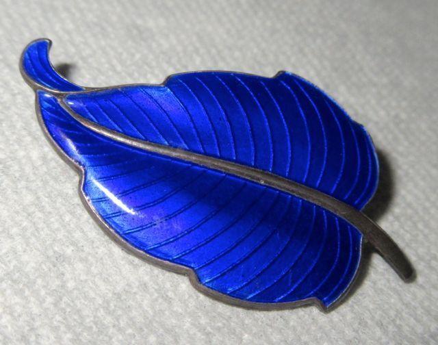 Volmer Bahner Denmark Sterling Silver Cobalt Blue Guilloche Enamel Leaf Brooch