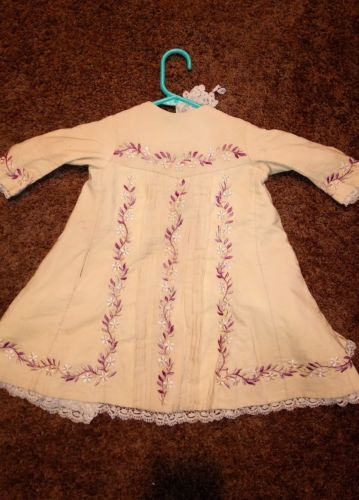 Antique child's dress 19th Century 1881 Intricate Embroidery & Lace Documented