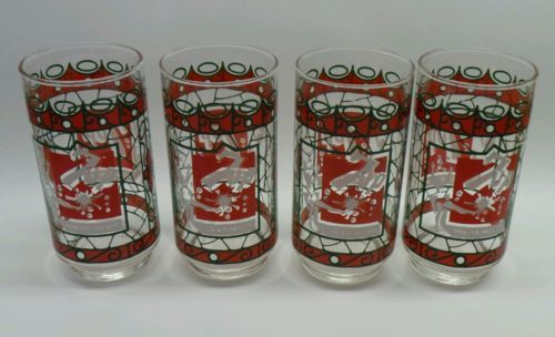 *RARE* VINTAGE SET OF 4 1960'S 7 UP 7UP SWIMSUIT GIRL LOGO COLLECTORS GLASS
