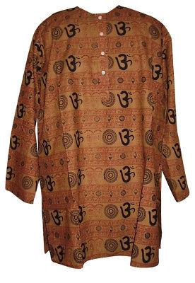 Om Cotton Kurta Shirt Casual or Dress Medium Brown