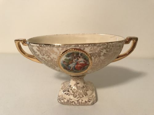 Antique Vtge Empire Ware Shelton Portrait Pedestal Foot Bowl Porcelain England