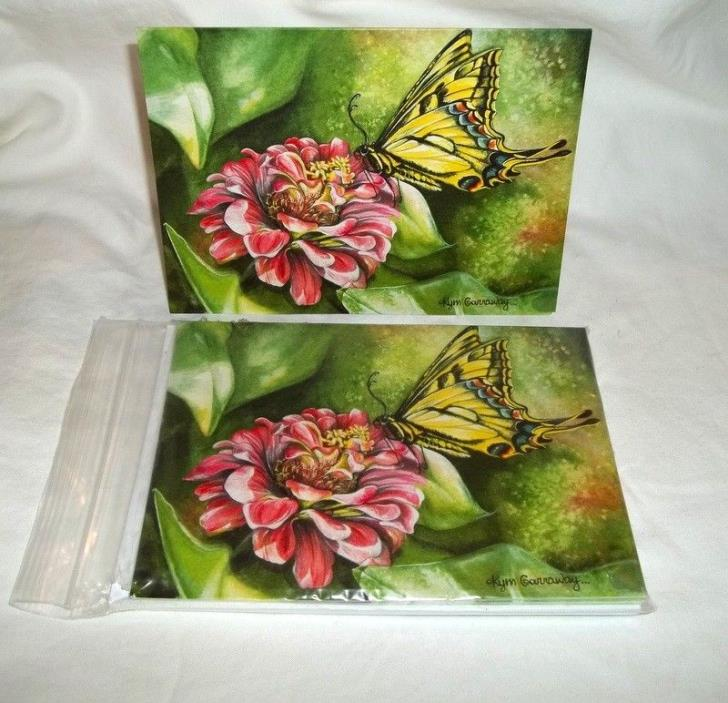 Kym Garroway Fine Art 10 Note Cards Envelopes Blank Zinnia&butterfly t3.25