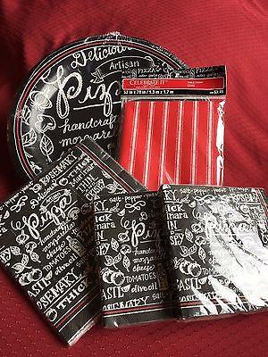 Pizza  Black & White Paper Plates & Napkins & Table Cover Plastic Set