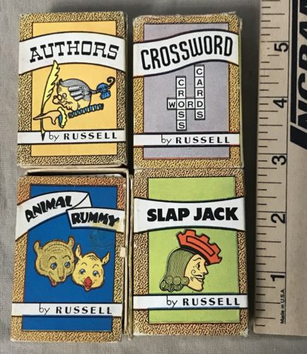 Vtg 1935 Big Little Card Games Russell Crossword Animal Rummy Authors Slap Jack