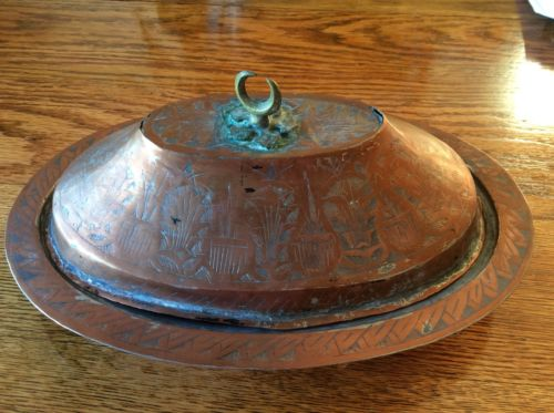 Antique Ottoman Copper and Tin covered Tray with Crescent Moon and Star