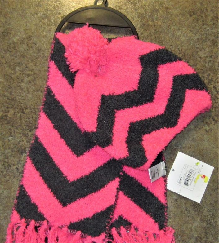 STOCKING WINTER HAT & SCARF COMBO GIRLS PINK & BLACK / JUMPING BEAN BRAND NEW