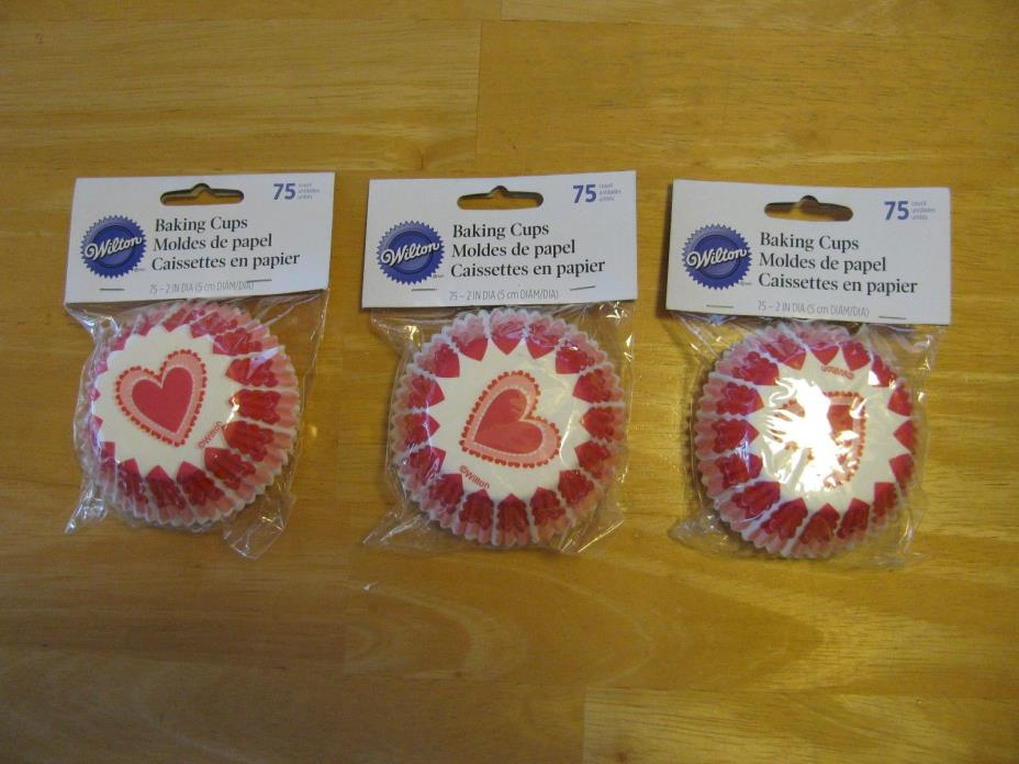 Wilton Valentines Day Cupcake Liners 3 Packs of 75 Count - FREE SHIPPING
