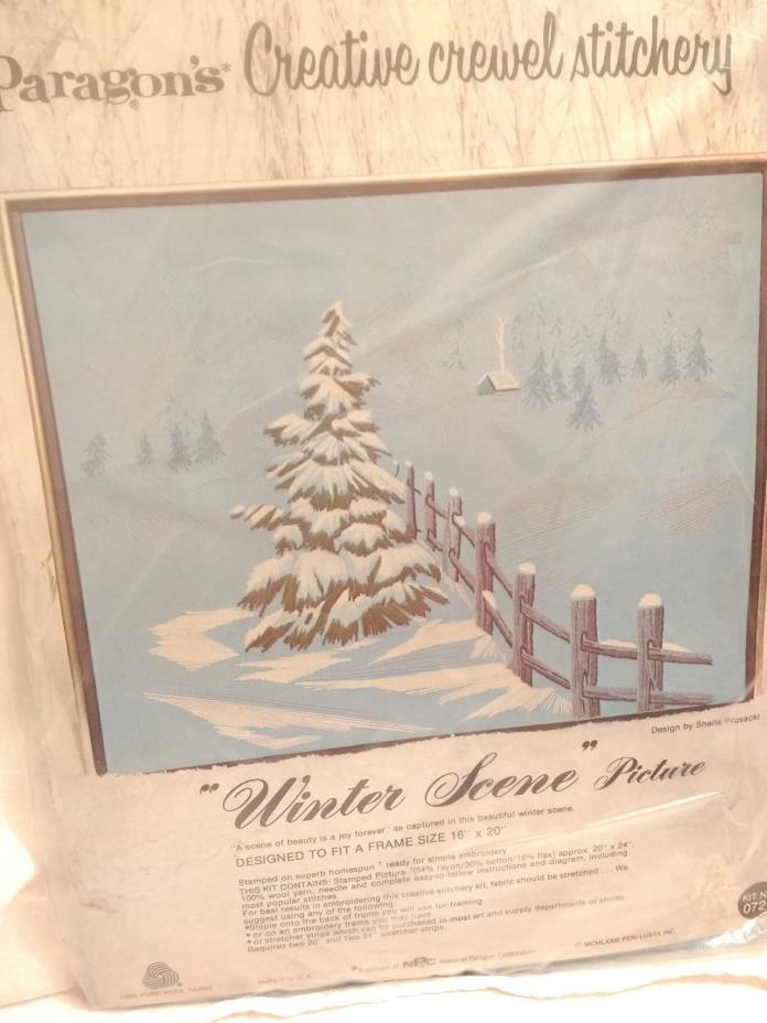 VINTAGE PARAGON CREWEL EMBROIDERY KIT WINTER SCENE COUNTRY CABIN IN SNOW