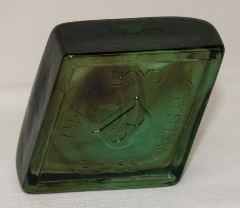 Boyd Crystal Art Glass Diamond Logo Paperweight ~ Magic Marble