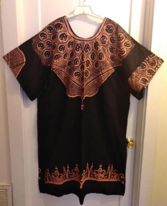 Decorative Black / Orange African Unisex 52 Inch Long Dashiki: Size XL-2XL