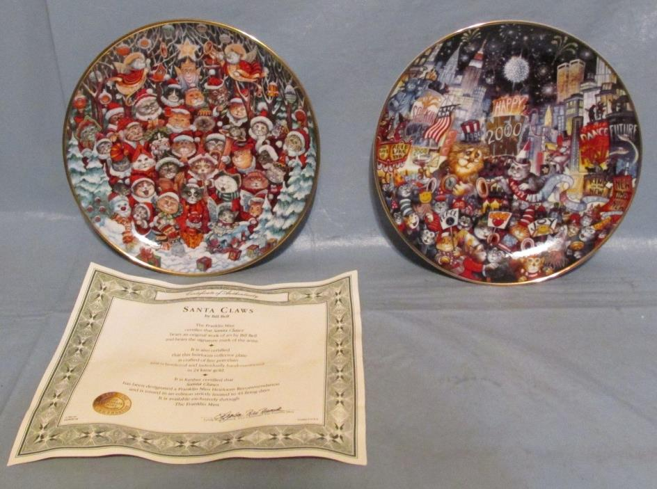 Franklin Mint Ring in the New Mill & Santa Claws Cat Christmas Plate Bill Bell