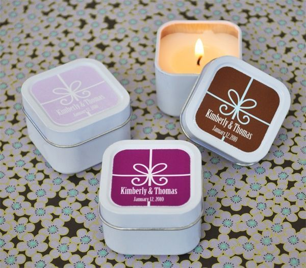 24 Personalized Gift Box Square Candle Tins Wedding Party Favors Q19910