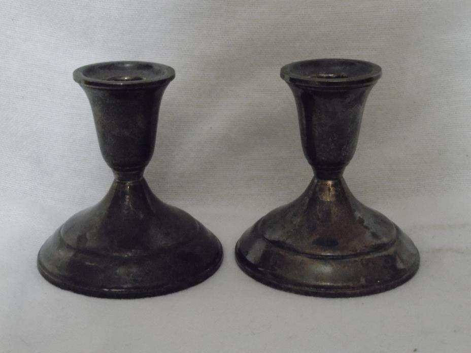 Vintage TOWLE Silverplate Candlestick Holders Pair  # 3179 Patina