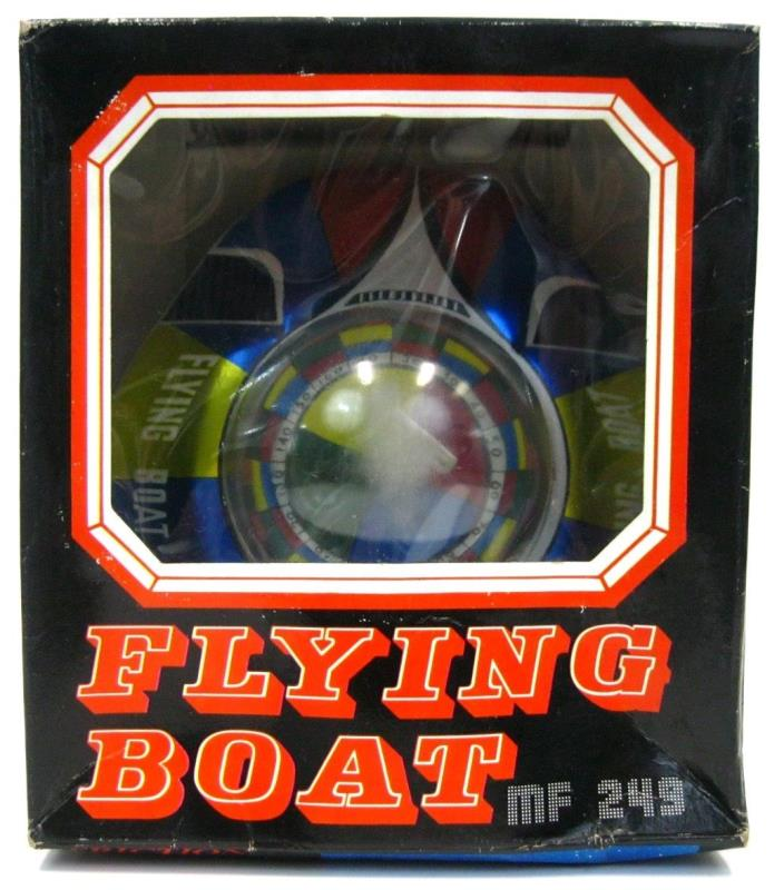 Vintage Red China MF 249 UFO Alien Flying Friction Saucer Space Ship w/Box Works